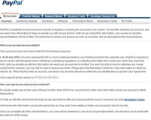The resons for Paypal limits and how to remove