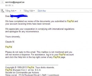 email paypal remove limit