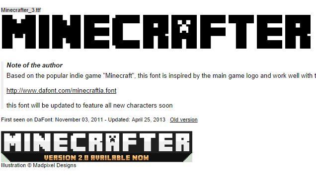 font 3d Minecraft