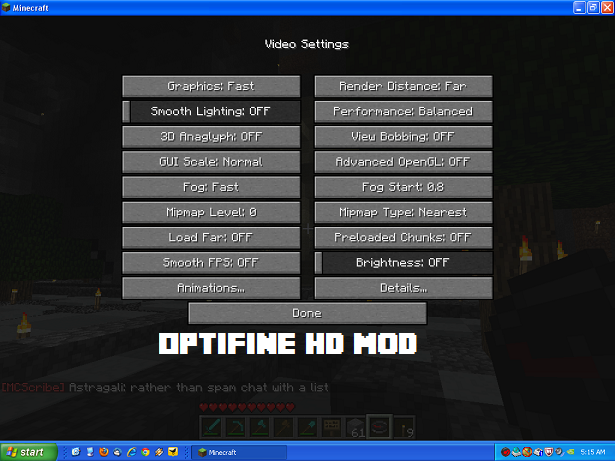 OptiFine HD Mod Setting